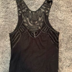 Free people lace embellished halter tank